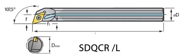 VHM Vollhartmetall-Bohrstange SDQC mit i.K.
